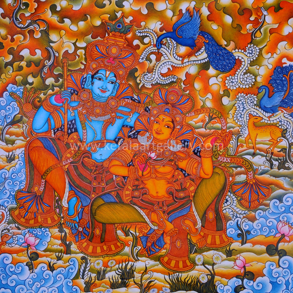 Radhamadhavam 02 krishna kerala art gallery for Buy kerala mural paintings online